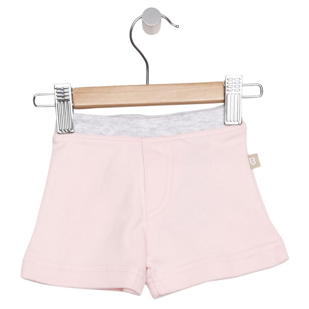 Organic Essentials Shorts - Pink w/Grey Trim