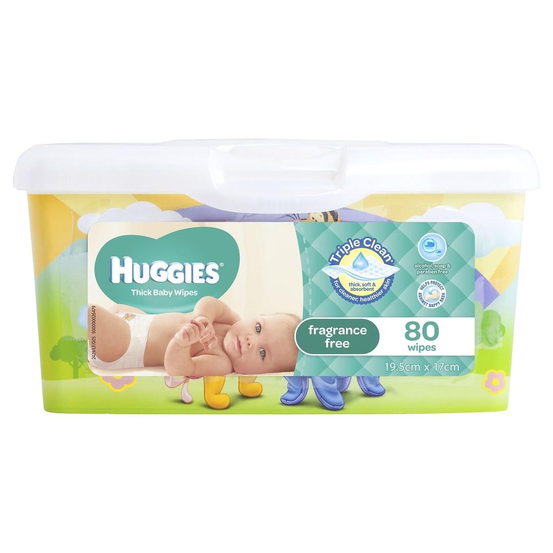 HUGGIES® Baby Wipes Fragrance Free Tub 80pc
