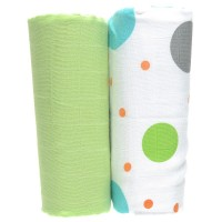 Organic 2-Pack Muslin Wrap Set in Polka Print