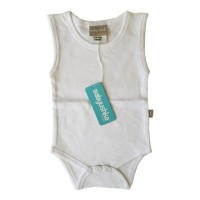 Bamboo Essentials Sleeveless Vest Onesie in Bright White
