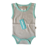 Bamboo Essentials Sleeveless Vest Onesie in Grey w/Teal Trim