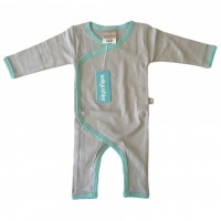 Bamboo Essentials Kimono Jumpsuit in Grey w/Teal Trim