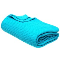 Cotton Waffle Throw Blanket in Teal