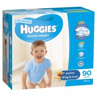HUGGIES® Nappies Junior 16+kg Boy 90pk MEGA