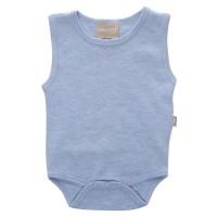 Babyushka Organic Essentials Sleeveless Vest Onesie in Blue Marle