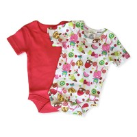 Short Sleeve Onesie Set in Pink Popsicle