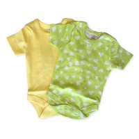 Short Sleeve Onesie Set in Green Hearts