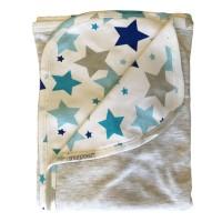 Reversible Hooded Blanket in Grey Star