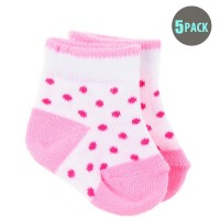5pk Snugzeez Pink Polka Dot Socks