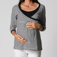 Striped Wrap Top - Black