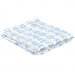 Organic 3-Piece Cot Sheet Set w/Drawstring Bag in Penguin Print