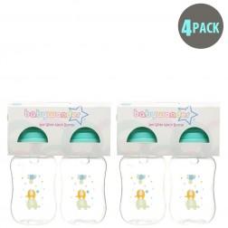 4-Pack BPA Free Wide Neck Bottle in Green Ele