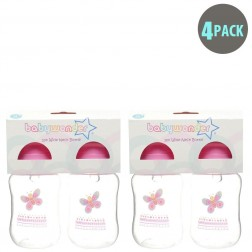 4-Pack BPA Free Wide Neck Bottle in Pink Butterfly
