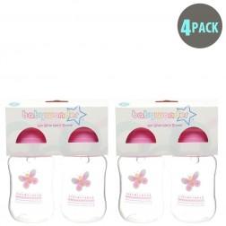 4-Pack BPA Free Wide Neck Bottle in Pink Butterfly