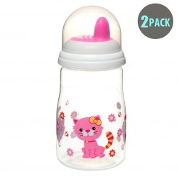 2pk Hard Spout Pink Kitty Spill-Proof Sippy Cup