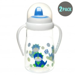 2pk Hard Spout Blue Dino Spill-Proof Sippy Cup With Handle