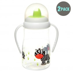 2pk Hard Spout Green Zebra Spill-Proof Sippy Cup With Handle