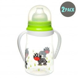 2pk Soft Spout Green Zebra Non-Spill Sippy Cup With Handle