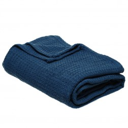 Cotton Waffle Throw Blanket in Charcoal