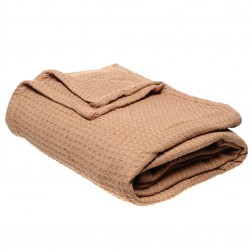 Cotton Waffle Throw Blanket in Latte