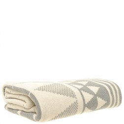 Cotton Knitted Throw Blanket in Natural
