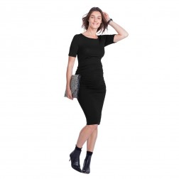 Ruched T-Shirt Maternity Dress in Caviar Black