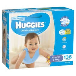 HUGGIES® Nappies Crawler 6-11kg Boy 136pk MEGA
