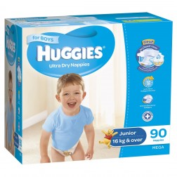 HUGGIES® Nappies Junior 16+kg Boy 90pk MEGA