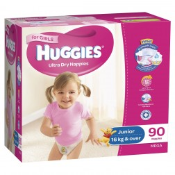 HUGGIES® Nappies Junior 16+kg Girl 90pk MEGA