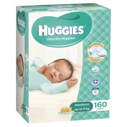 HUGGIES® Nappies Newborn up to 5kg 160pk MEGA