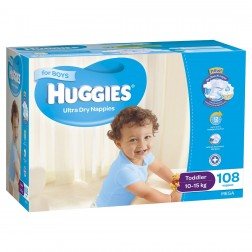 HUGGIES® Nappies Toddler 10-15kg Boy 108pk MEGA