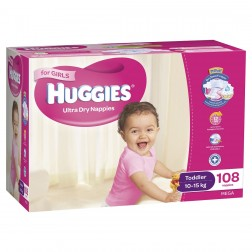 HUGGIES® Nappies Toddler 10-15kg Girl 108pk MEGA