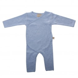 Babyushka Organic Essentials Kimono Jumpsuit in Blue Marle