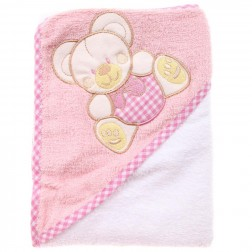 Hooded Towel - Pink Bear