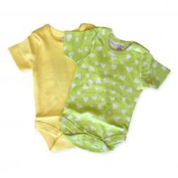 Short Sleeve Onesie Set in Green Hearts