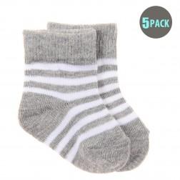 5pk Snugzeez White Striped Socks