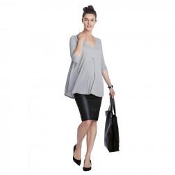Atherton Rib Maternity Top in Grey Melange