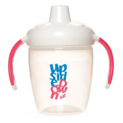 Hard Spout Non-Spill Cup w Handles in White