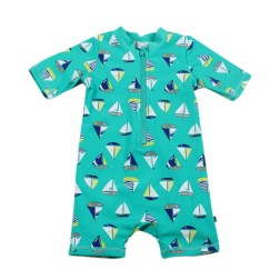 Bebe by Minihaha UPF50+ Boat Print S/S Front Zip Sunsuit